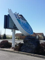 The sign out front of the Rain Tunnel Car Wash on Orchard Drive, Chambersburg, snapped in half in high wind gusts overnight Saturday to Sunday.
