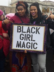 Verna Ingram, left, at the women's march in Washington,