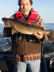 Fishing with Casey Mueller on May 18 in Little Sturgeon, Dan Cichantek (pictured) caught this 27-inch, 7-pound walleye. Note the orange tag in it. It was tagged and a GPS transmitting device inserted on the Peshtigo River on April 23. A $100 reward was given for returning the transmitter. It was one of 100 fish tagged.