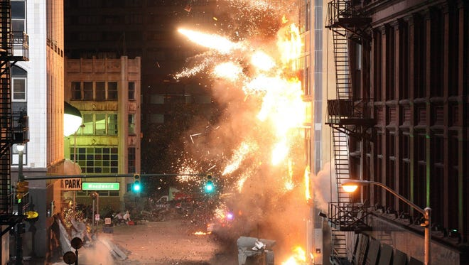 An explosion on the set of Transformers 3 in downtown Detroit near the intersection of Woodward Ave. and Clifford St. on Friday, September 24, 2010.