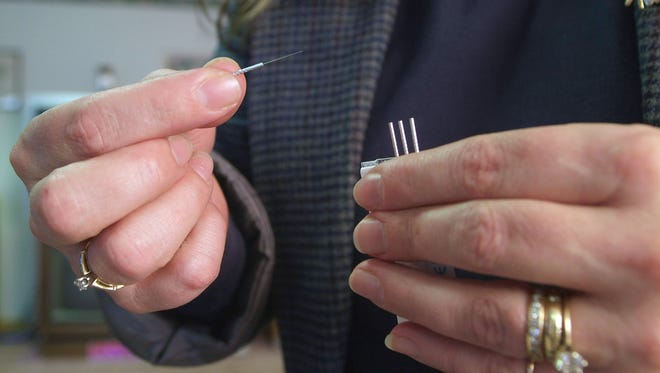 Acupuncture needles used at an inpatient drug and alcohol rehabilitation center.