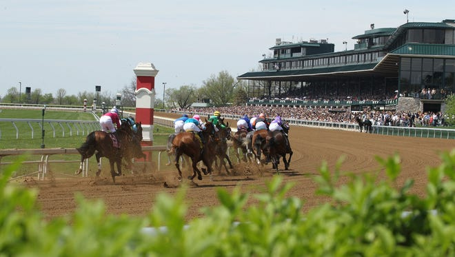 Horses hit the top of the stretch last spring at Keeneland.
