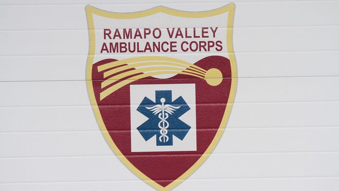 Ramapo Valley Ambulance Corps logo on an ambulance bay door at the headquarters in Suffern.