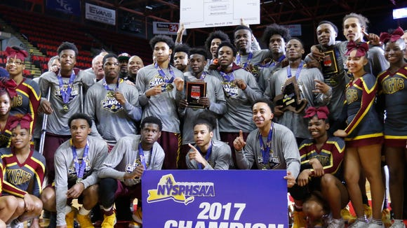 Mount Vernon defeats Fairport 59-48 in the NYSPHSAA boys Class AA final at Floyd L. Maines Veterans Memorial Arena in Binghamton on Sunday, March 19, 2017.