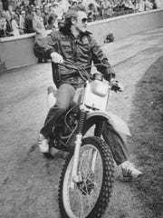 Robin Yount rides his dirt bike during a celebration at County Stadium after the Brewers lost to the Cardinals in the 1982 World Series.