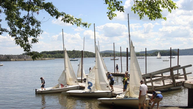 The Croton-on-Hudson waterfront as kids take sailboats out of the water July 1, 2016.