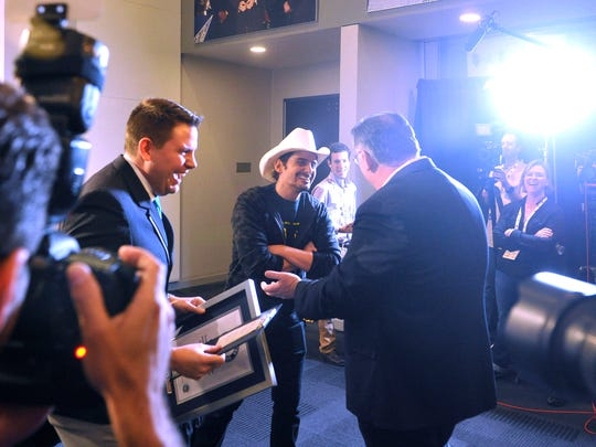 Brad Paisley is surprised to receive a Guinness World Record certificate for most consecutive ACM male vocalist of the year wins at rehearsals for the 50th Academy of Country Music Awards.