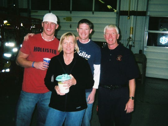 Now-retired Assistant Chief Jerry Brubaker joins his family at the 2006 Chili Oyster Supper at the Altoona Fire Department. Left to right is Chris, Carol, Todd and Jerry Brubaker.