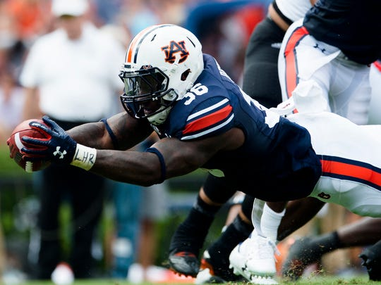 Limited by injuries, Auburn running back Kamryn Pettway (36) ran for just 305 yards this season.