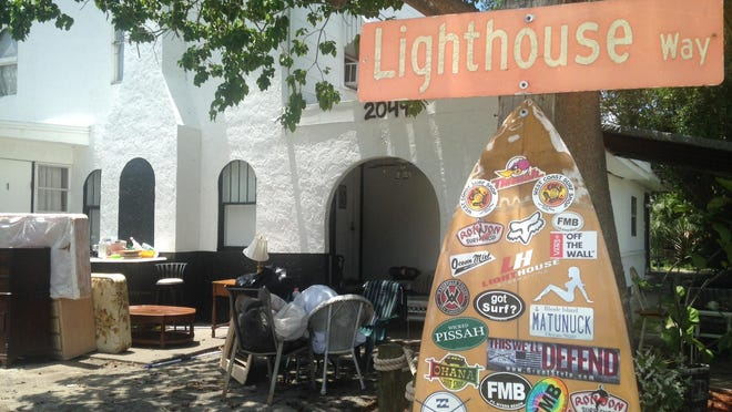 Furniture, bedding and other household items from transitional homes that had been operated by The Lighthouse Fort Myers were stored Monday in front of 2049 Canal Street in Fort Myers, the headquarters for the now inactive transitional home service.