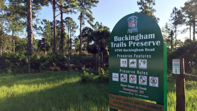 The Buckingham Trails Preserve is a 572-acre preserve that offers hiking and trail riding. A free 1.5-mile guided walk Memorial Day hike includes remains from the Buckingham Army Air Field's Flexible Gunnery School, a training base operated by the U.S. military in Lee County during World War II.