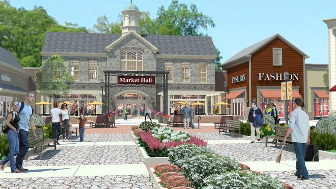 Gloucester Premium Outlets' Market Hall is depicted in this rendering.