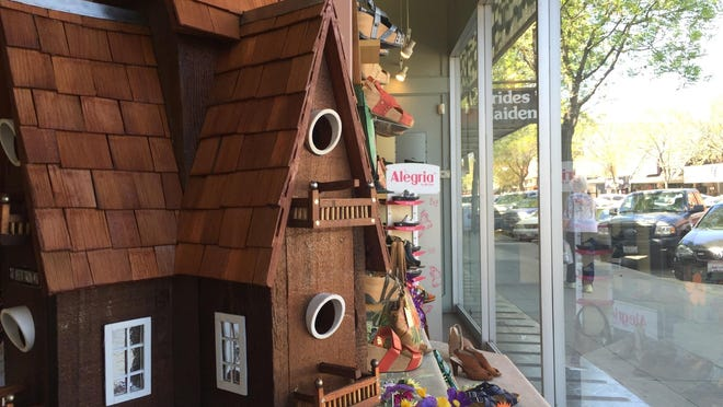 A birdhouse on display at Brown's Shoe Fit Company for the 11th annual Birdhouse Auction to benefit Habitat for Humanity of Tulare County.