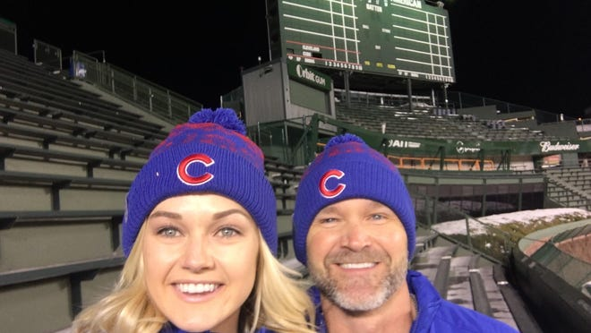 Professional dancer Lindsay Arnold and David Ross at Wrigley Field last week.