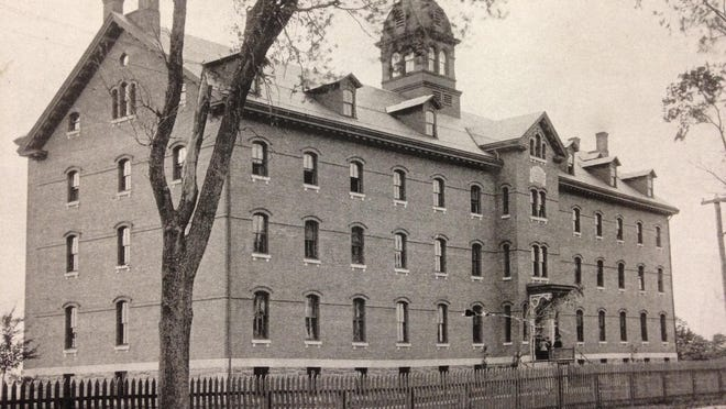 Historic image shows the North Avenue side of the former St. Joseph's Orphanage.