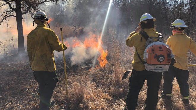 All of Love County was paged out to a large grassfire Sunday afternoon. The fire burned around 20 to 25 acres before firefighters were able to put it out using hand tools.