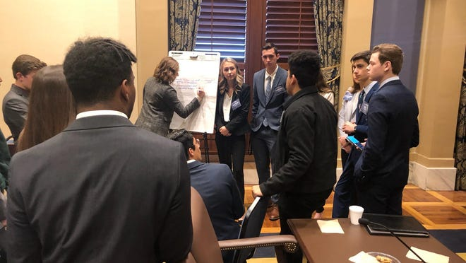 Members of the Oklahoma State Department of Education Student Advisory Council collaborate during their first meeting of the year on Friday. Three Carter County students were appointed to the 104-member council in December 2019.