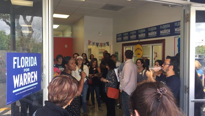 Campaign coordinators welcomed volunteers and the public to the opening of Elizabeth Warren's Miami campaign office on Saturday.