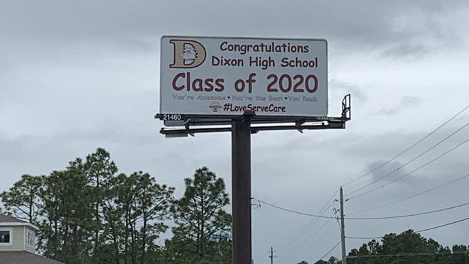 A billboard in Sneads Ferry recognized the Dixon High School Class of 2020.