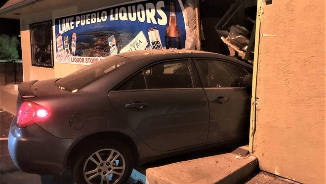 This vehicle ended up in Lake Pueblo Liquors after careening through two parking lots. The driver was not impaired but was license-less.