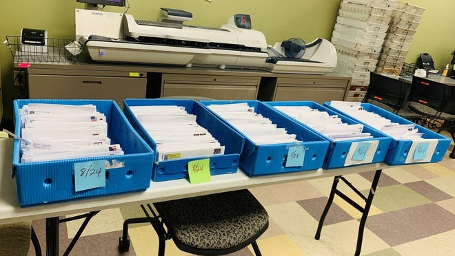Mail ballot applications waiting to be processed at Travis County Clerk's Office. [AMERICAN-STATESMAN/FILE]