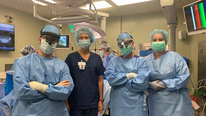 The breast care team at Portsmouth Regional Hospital: Dr. Fares Samra, Dr. Anthony Wilson, Dr. Lauren Thompson, and Physician Assistant Alison Mailloux.