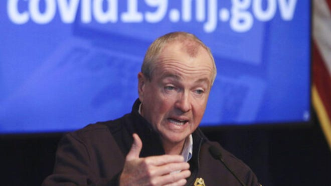 In this April 25, 2020 file photo, New Jersey Gov. Phil Murphy speaks during his daily press briefing at the the War Memorial in Trenton, N.J.