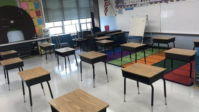 Desks in a Potter Road Elementary School classroom are separated by 3-feet.