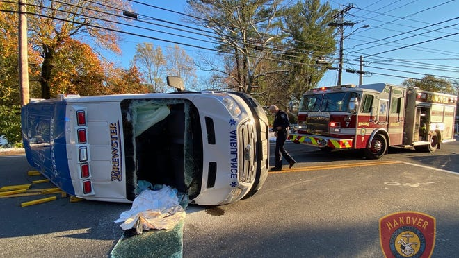 A Brewster ambulance flipped in a Saturday crash.
