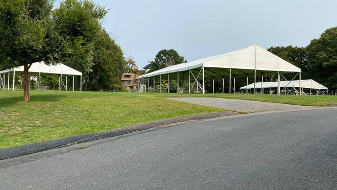 Tents have been erected at the Fiske School.
