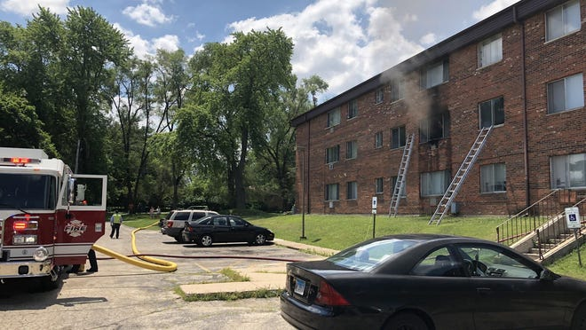 Rockford firefighters battle an apartment fire at 3525 Normandy Ave. on Friday, July 3, 2020.