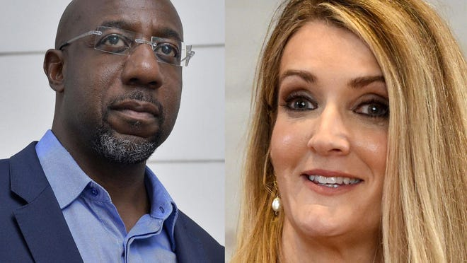 Raphael Warnock, left, Kelly Loeffler, right