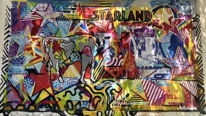A mural covers one of the walls of the Starland Dairy in Savannah's Starland District.
