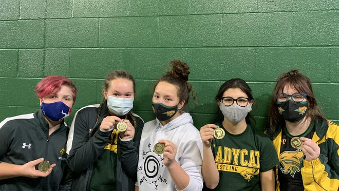 Shown are Basehor-Linwood girl's wrestlers Cadence Christenson, Avery Craig, Jill Wallace, Olivia O'Donnell and Mackenzie Botka following their first-place wins at the Emporia Tournament Saturday at Emporia High School.