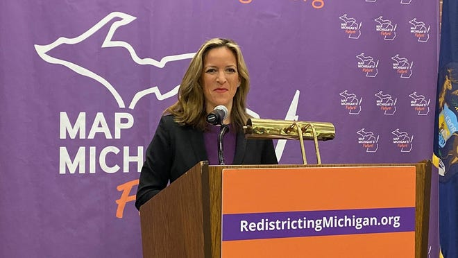 Michigan Secretary of State Jocelyn Benson speaks during a press conference in Grand Rapids in Oct. 2019. During a Zoom call with the Michigan League of Conservation Voters on Monday, June 8, 2020, Benson said election workers will need more time to count mail ballots in upcoming elections due to increases to access of absentee voting.