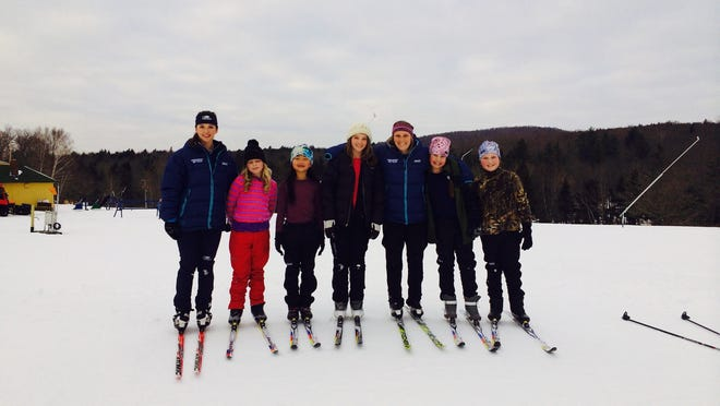 Mentors from the Middlebury College women's ski team with their Snow Stars Nordic mentees. Girls from Ripton and Middlebury ski with the team after school at Rikert Nordic Center in the program sponsored by STRIDE: The Wright Foundation for Female Athletes.