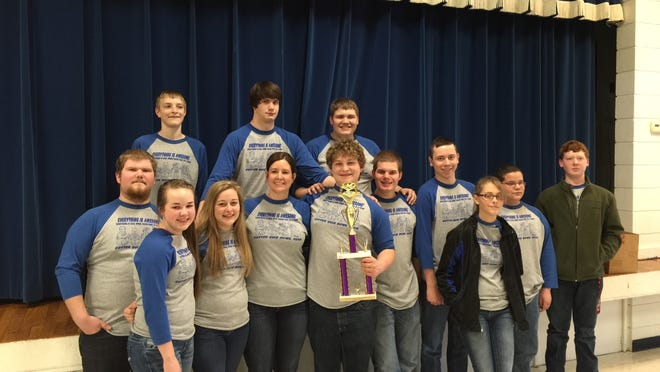 The Cotter Senior Quiz Bowl team was undefeated in the 2A Regional Tournament recently at Cotter High School. Team members shown are, front row, from left, Caleb Howse, Samantha Hodges, Emily Krause, coach Monica Springfield, team captain Justice Didway, Grant Dodson, Dalton Orsborn, Abigail Vance, Gabe Gilley and Andy Slater, second row, Trenton Tardiff, Alexander Hyde and Austin McBee. Didway earned All-Tournament Team honors.