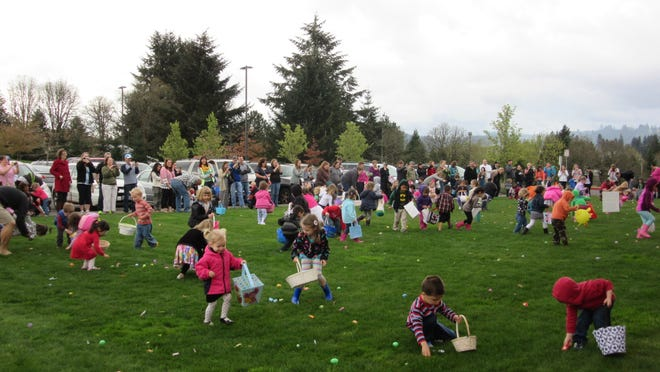 Easter egg hunting at the Community Easter Egg Hunt and Party at Our Savior's Lutheran Church on March 28, 2015.