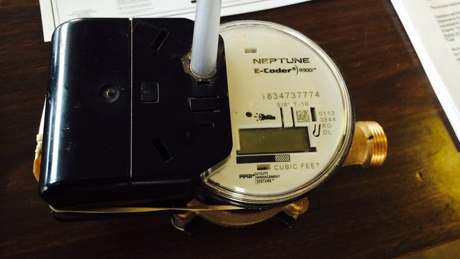 A Neptune water meter with a radio antennae at Wausau Water Works on Thursday, March 12, 2015.