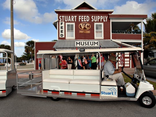 The city of Stuart operates several trams that get you from your car to your restaurant efficiently.