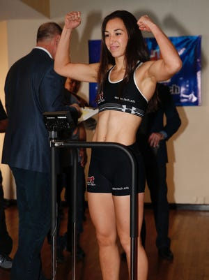 El Pasoan Jennifer Han weighed-in before their fight in October. She will fight again in February.