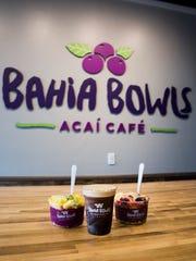 A pitaya bowl, Bahia nitro coffee and a Bahia bowl at Bahia Bowls, an acai café that makes smoothies and fruit bowls, in Estero on Monday, Jan. 8, 2018.