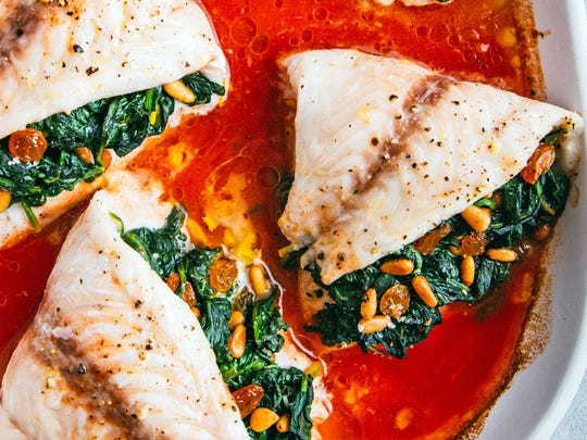 "Baked Snapper with Spinach Filling, from the book ""Super"