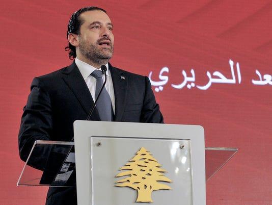 EPA LEBANON SAAD HARIRI RESIGNS POL INTERIOR POLICIES LBN