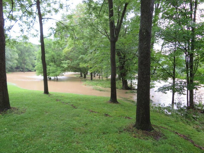 The Choconut Creek spilled over its banks and cut through