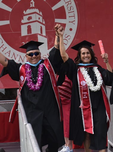 Patrick and Rachel Tafoya participated in graduation at CSU Channel Islands nearly six months after the Thomas Fire took everything they own.