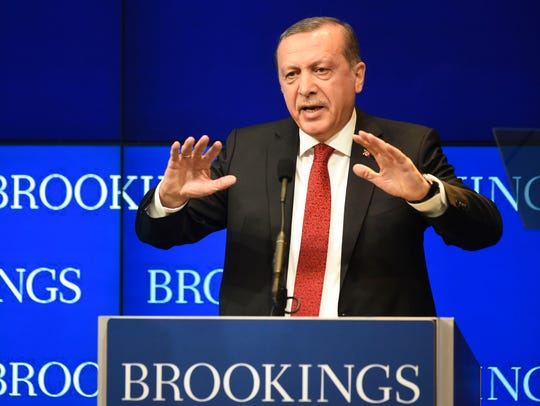 Turkish President Recep Tayyip Ergodan speaks at the