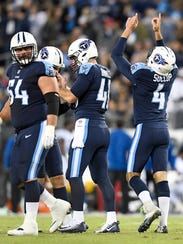 Titans place kicker Ryan Succop (4) celebrates his