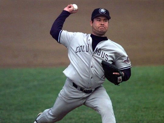 Hideki Irabu at pitches for the Columbus Clippers against