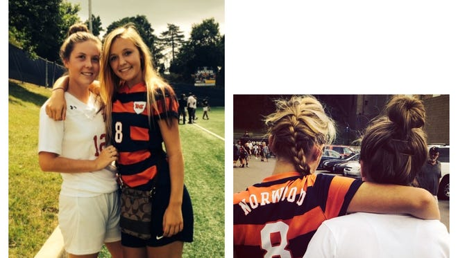 Photographs of Kelsie Crow, in white, with her cousin and Kolping United U17 teammate Natallie Segrist-Bellamah.